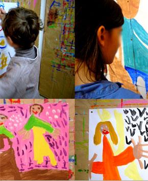 Stage enfant, vacances scolaires vacances de Pâques 2009, des peintures.