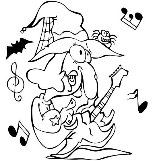 Des coloriages pour Halloween avec les enfants, la chanson le rock de la sorciere, la sorciere avec sa guitare electrique