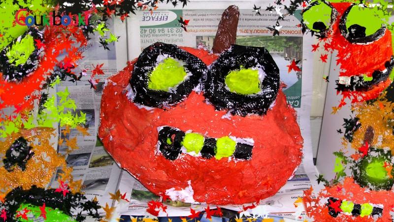 CITROUILLE papier mâché Déco d'Halloween - Cours COUKIBOUKI activite artistique enfant citrouille papier mache