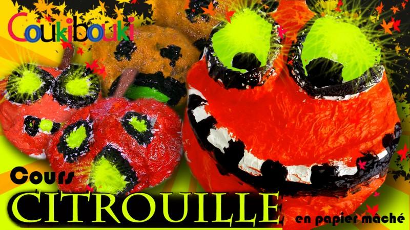 CITROUILLE papier mâché Déco d'Halloween - Cours COUKIBOUKI cours generique titre citrouille