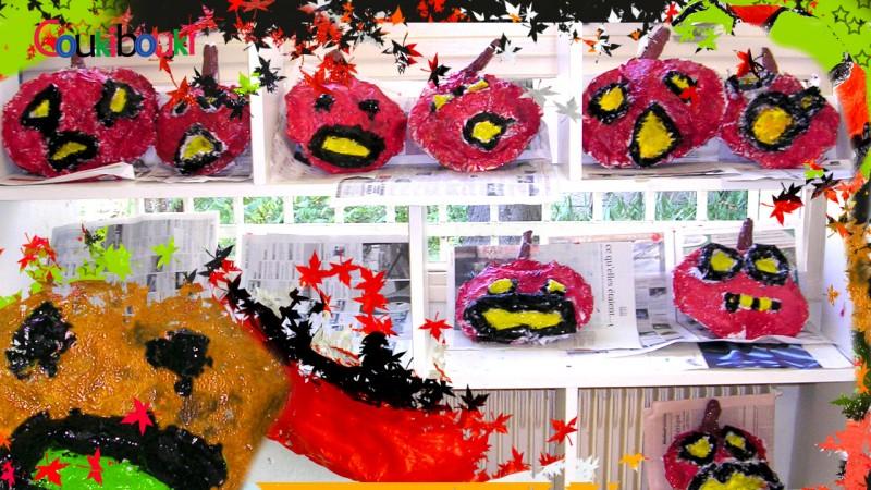 CITROUILLE papier mâché Déco d'Halloween - Cours COUKIBOUKI des citrouilles en papier mache