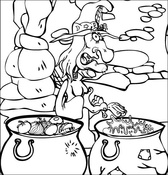 Pour Halloween, le dessin animé La soupe à la Sorcière coloriage la soupe a la sorciere soupes