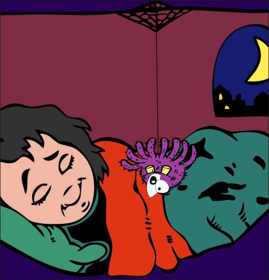 Pour Halloween, le dessin animé l'araignée,  dessin quand nous nous endormons.