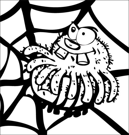Pour Halloween, le dessin animé l'araignée, coloriagel'araignee mange le frelon.