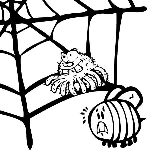Pour Halloween, le dessin animé l'araignée, coloriage l'araignee observe le frelon.