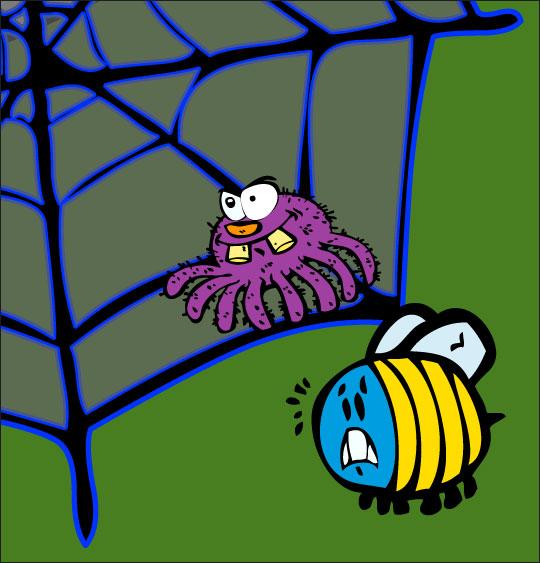 Pour Halloween, le dessin animé l'araignée, dessin l'araignee observe le frelon.