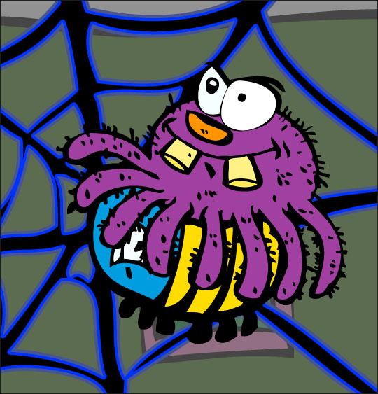 Pour Halloween, le dessin animé l'araignée, dessin l'araignee mange le frelon.