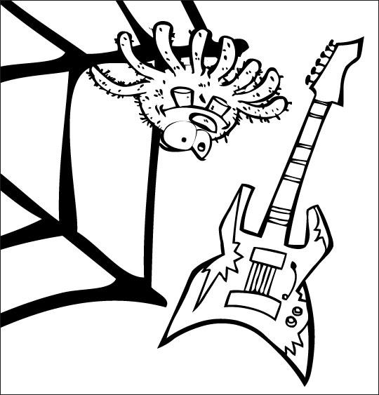 Pour Halloween, le dessin animé l'araignée, coloriage l'araignee et la guitare électrique.