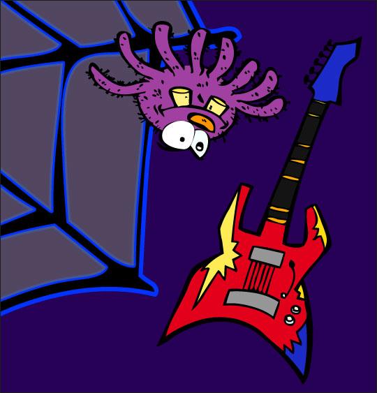 Pour Halloween, le dessin animé l'araignée, dessin l'araignee et la guitare électrique.