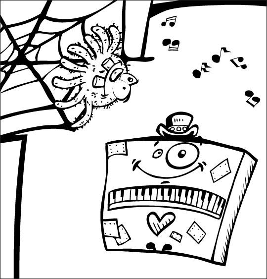 Pour Halloween, le dessin animé l'araignée, coloriage l'araignee et le piano.