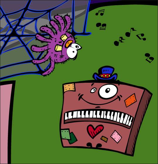Pour Halloween, le dessin animé l'araignée, dessin l'araignee et le piano.