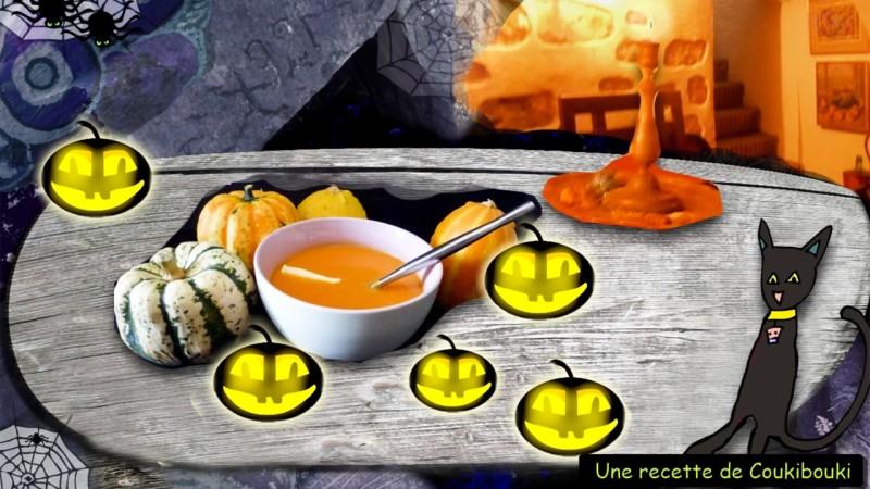 Halloween La Soupe de la Sorcière  a table pourr manger la soupe a la citrouilles