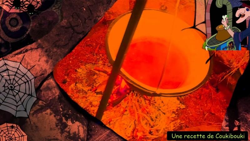 Halloween La Soupe de la Sorcière  le feu sous la marmite