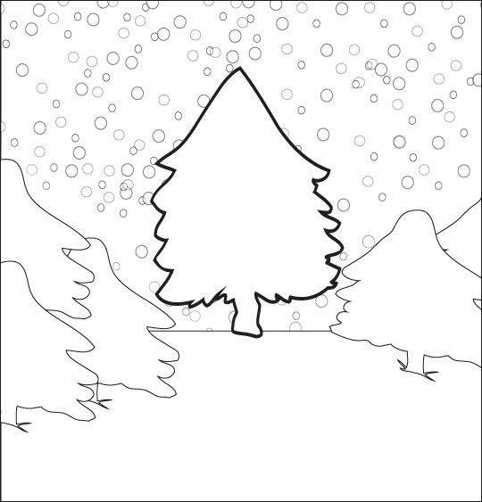 Chanson de Noël gratuite, Mon beau Sapin le coloriage du beau sapin sous la neige