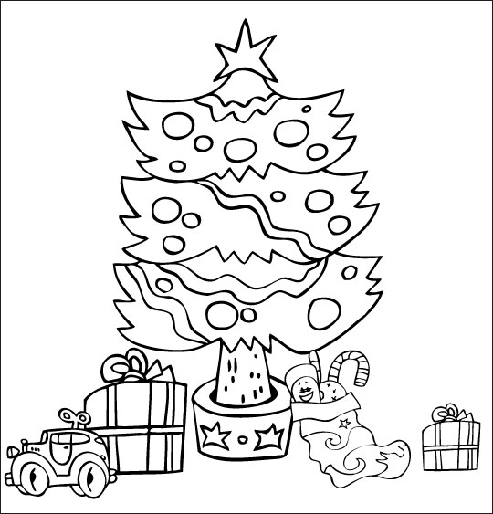 Chanson de Noël gratuite, le coloriage de Mon beau Sapin de noel dans la lumiere