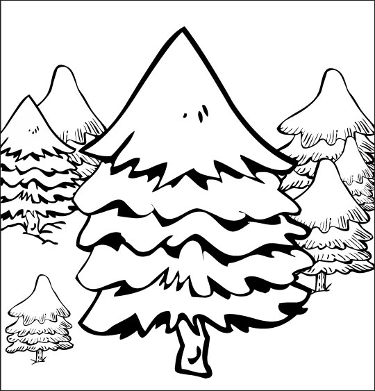 Chanson de Noël gratuite, le coloriage de Mon beau Sapin dans la forêt