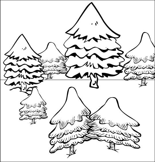 Chanson de Noël gratuite, le coloriage de Mon beau Sapin dans la forêt sous la neige