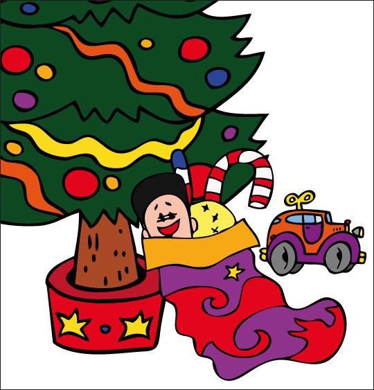 Conte de Noël, dessin animé pour les enfants chaussette de noel sous le sapin