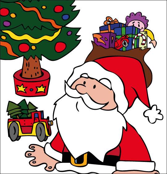 Conte de Noël, dessin animé pour les enfants le pere noel amene les jouets devant le sapin