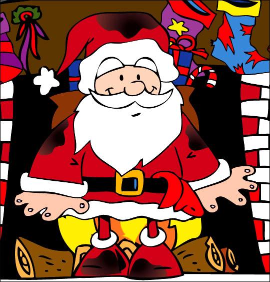 Conte de Noël, dessin animé pour les enfants le pere noel sort de la cheminee plein de suie
