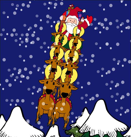 Conte de Noël, dessin animé pour les enfants le pere noel vole sur son traineau