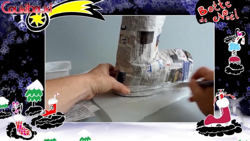Botte de Noël en papier mâché, une belle décoration pour Noël, je fabrique le semelle