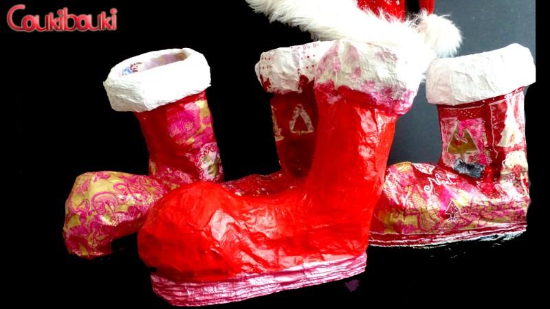 Botte de Noël en papier mâché, une belle décoration pour Noël, 4 bottes