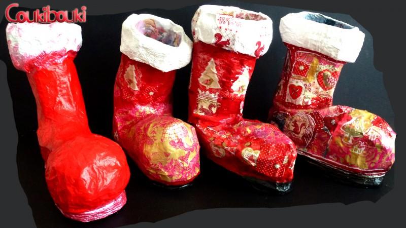 Botte de Noël en papier mâché, une belle décoration pour Noël de coukibouki