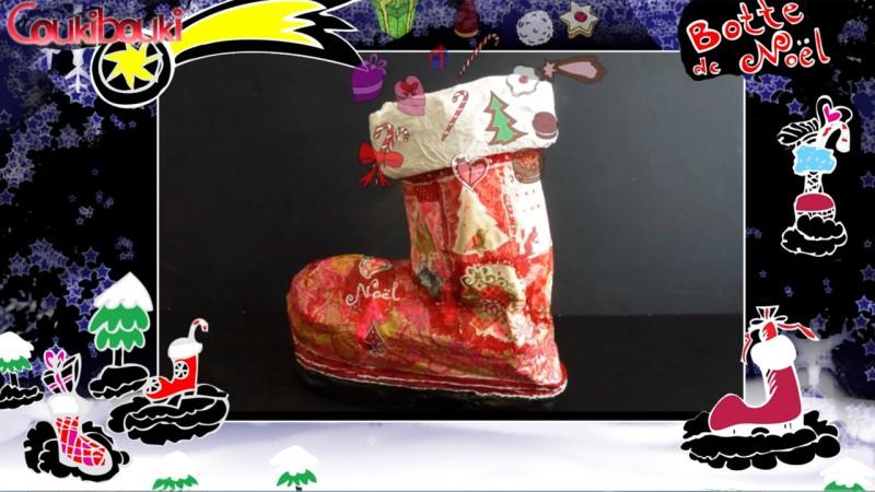 Botte de Noël en papier mâché, une belle décoration pour Noël, c'est fini
