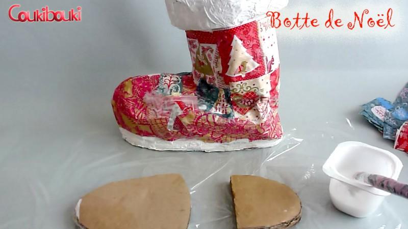 Botte de Noël en papier mâché, une belle décoration pour Noël, je crée la semelle
