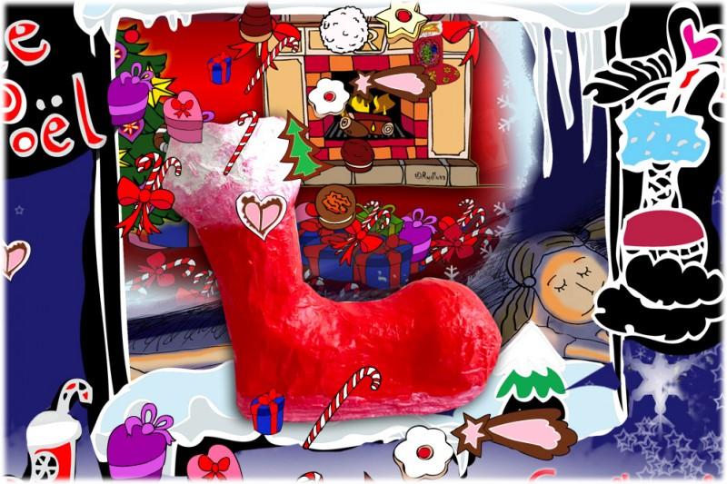 Botte de Noël papier mâché, une belle décoration pour... botte noel decoration noel coukibouki rydlova