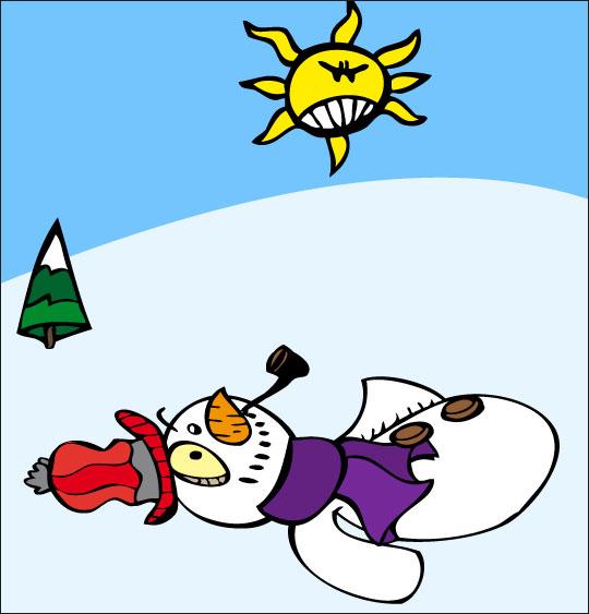 Vidéo de Noël, le bonhomme de neige, le bonhomme de neige est couché dans la neige.