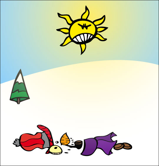 Vidéo de Noël, le bonhomme de neige en dessin animé, le bonhomme de neige a tout fondu.