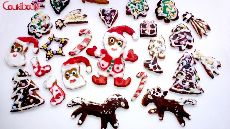 Pâtisseries de Noël, un pain d'épices aux smarties. tous les motifs de Noël pour nos gâteaux