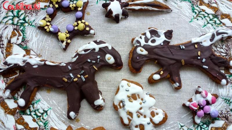 Pâtisseries de Noël, un pain d'épices aux smarties. gateaux noel, les chevaux