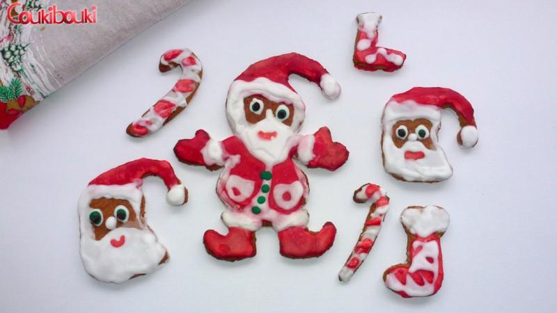 Pâtisseries de Noël, un pain d'épices aux smarties. gateaux noel pere noel