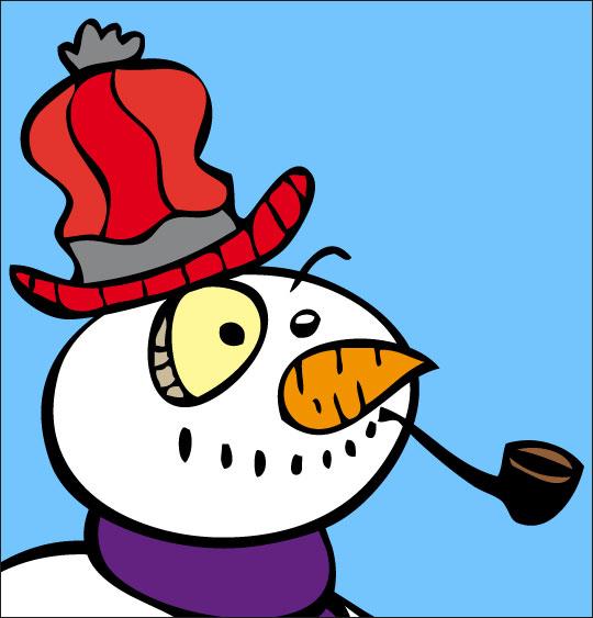 Chansons de Noël en dessins animés bonhomme de neige le visage en gros plan