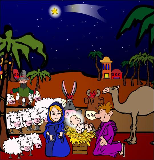 Chansons de Noël en dessins animés douce nuit sainte nuit creche paysage animaux
