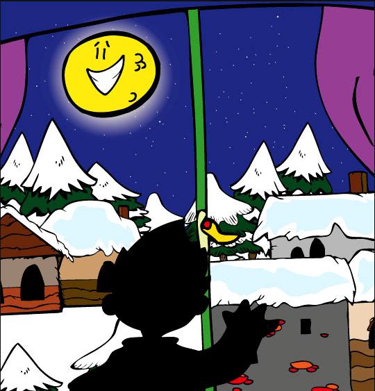 Chansons de Noël en dessins animés la nuit de noel la lune par la fenetre