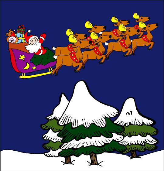 Chansons de Noël en dessins animés la nuit de noel le traineau du pere noel et les rennes