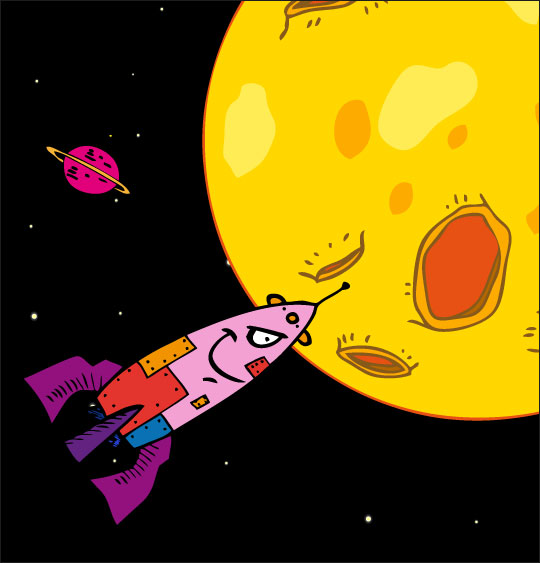 chanson pour danser sous la lune, Swing la Lune, la  fusée arrive sur la lune