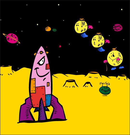 chanson pour danser sous la lune, Swing la Lune, les luniens voient la fusee