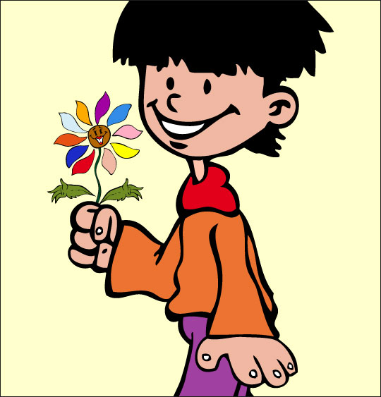 Apprendre une chanson pour la fête des mères aux enfants, la fleur offerte par le garcon.  une image extraite du dessin animé.