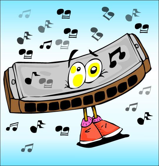 Apprendre une chanson pour la fête des mères aux enfants,  l'harmonica, une image extraite du dessin animé.