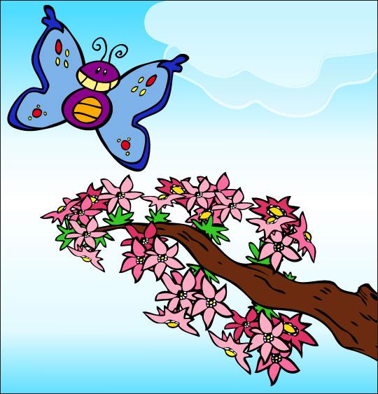 Apprendre une chanson pour la fête des mères aux enfants, le papillon,  une image extraite du dessin animé.