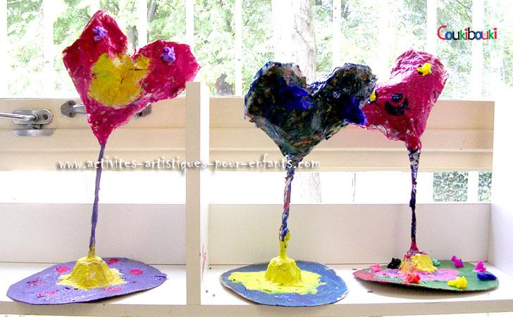 Cadeau Fête des Mères,  Le cours pour réalisé des  coeurs en  papier mache pour maman.
