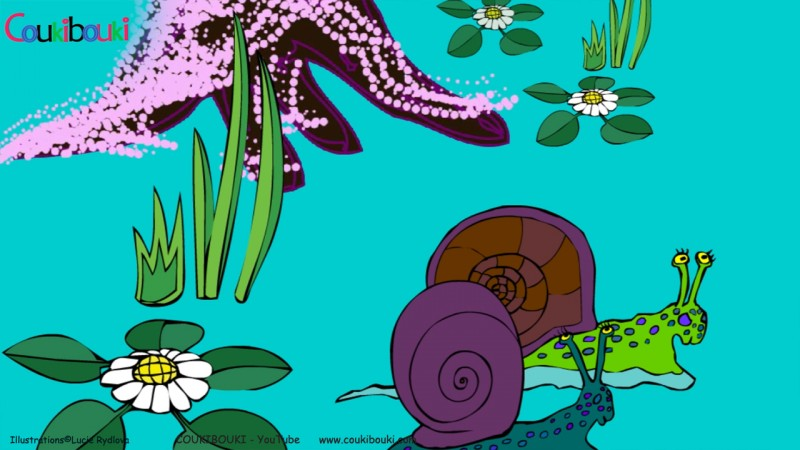 Dessin animé de la comptine Petit Escargot, deux escargots en promenade.