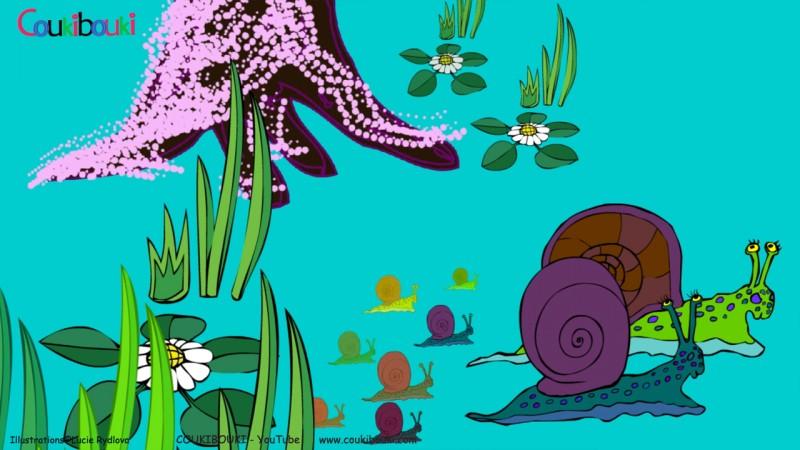 Dessin animé de la comptine Petit Escargot, la famille escargot dans la forêt.
