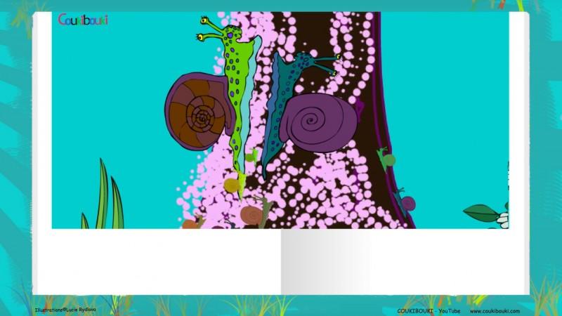 Livre audio de la comptine Petit Escargot, les petits escargots montent sur un arbre.