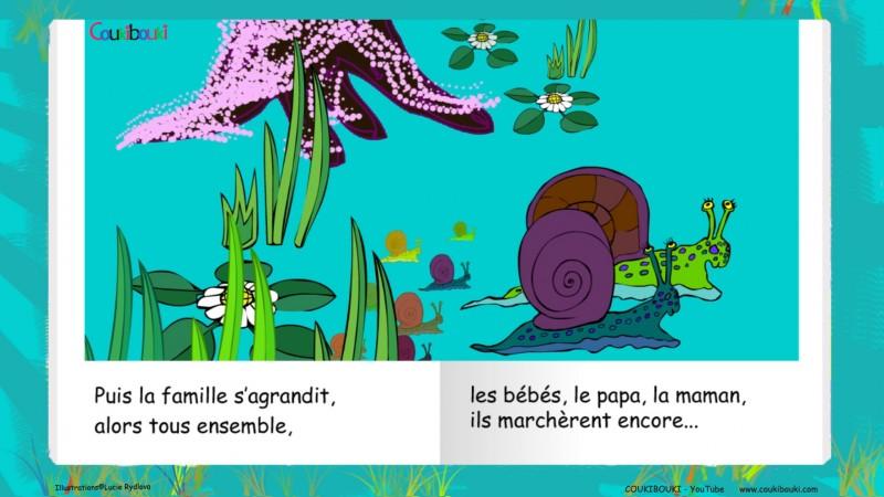 Livre audio de la comptine Petit Escargot, toute la famille escargot.